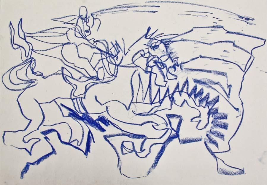 """rukub"", 2014, 42x29,5cm, oil pastel on paper"