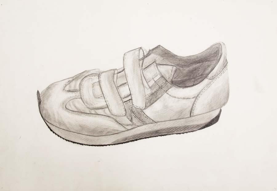 """Turnschuh"", 1985/86, 42x29,5cm, pencil on paper"