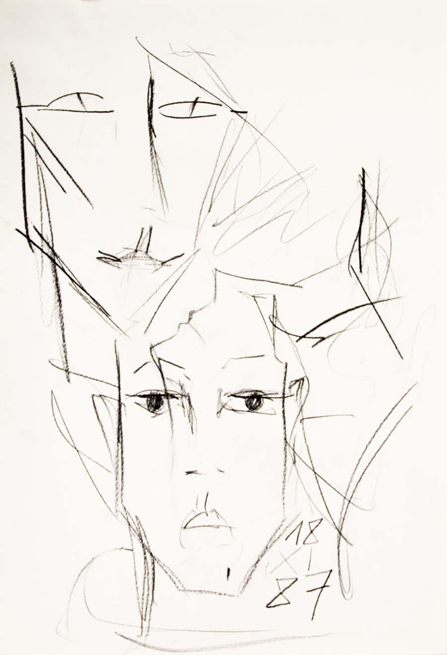 """""""18.XI.87"""", 1987, 42x29,5cm, black chalk on paper"""