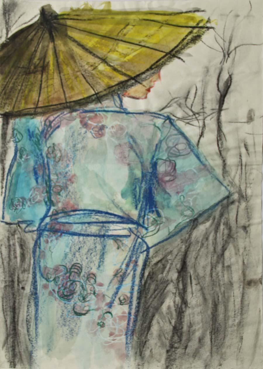 """Kimono"", 2004, 44,8x31,6cm, oil pastel and black chalk on paper"