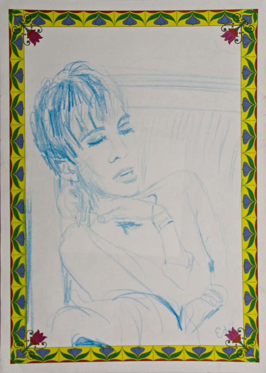 """""""Edie with flower frame"""", 1995, 42x29,5cm, colour pencil on paper"""
