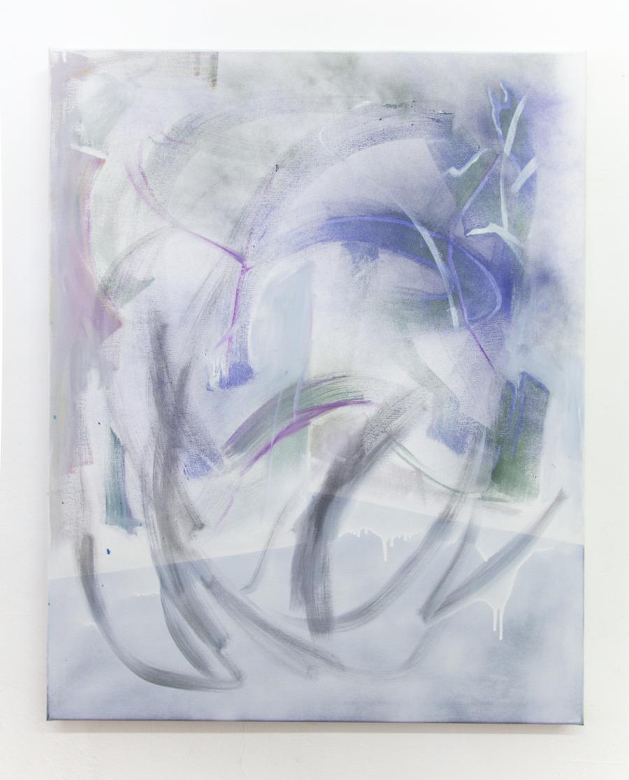 "Nino Sakandelidze, ""undo the undone"", Öl und Spray auf Leinwand, 100 x 80 cm, 2015"