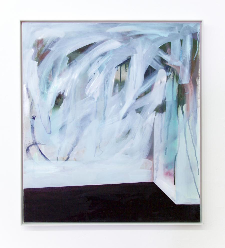 "Nino Sakandeliedze, ""smile like a Ceshire Cat"", Öl und Spray auf Leinwand, 80 x 80 cm, 2015"