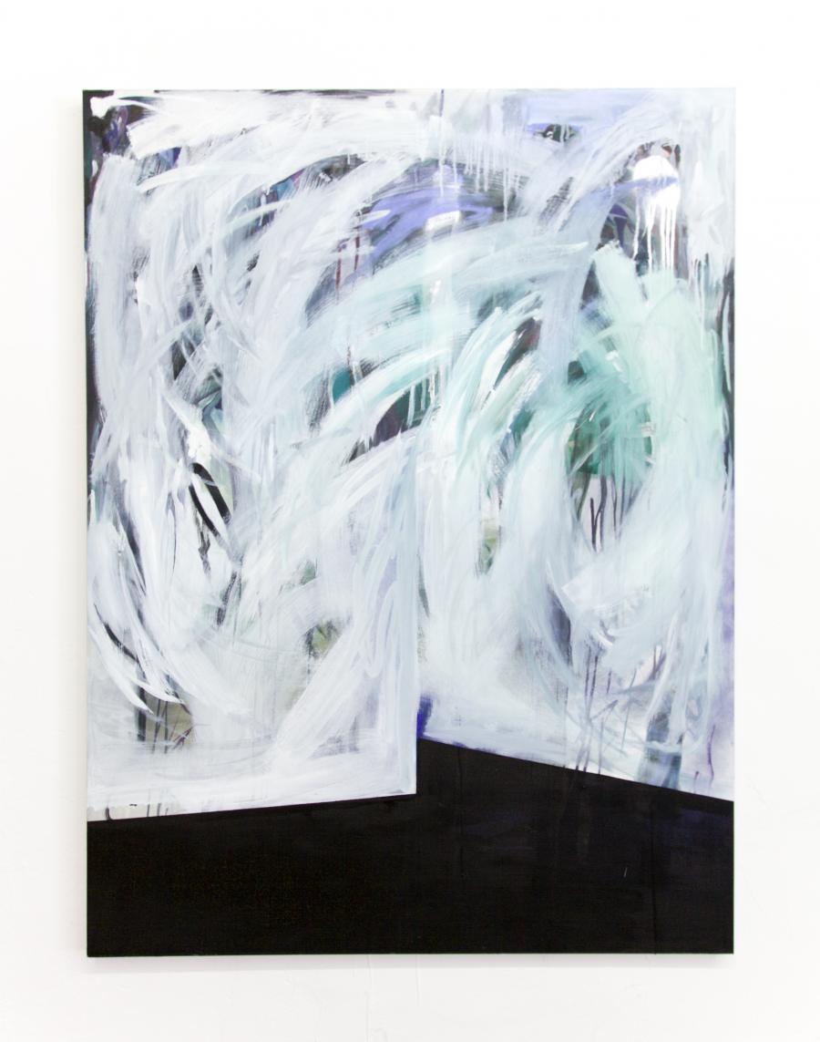 """Nino Sakandeliedze, """"Roomescape #1 - greengras waterfalls"""", Öl und Spray auf Leinwand, 160 x 120 cm, 2015"""