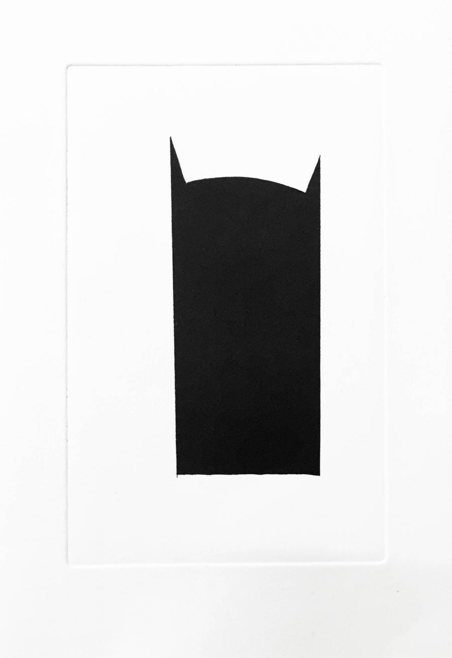 "Kerstin von Gabain, ""Batman"", 20 x 29 cm, etching printed on handmade paper, edition of 100, 2015"