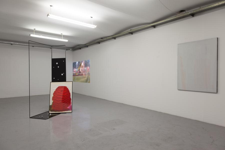 Installationsansicht DIAMANTEN IV Toshain / Jeanette Hayes / Erwin Bohatsch, Kunstraum am Schauplatz, 2017, Foto Björn Segschneider