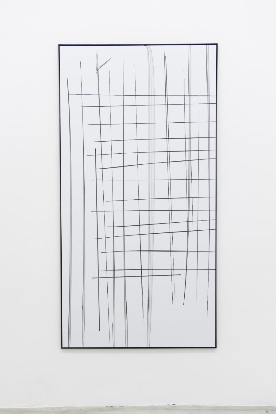 Marina Sula, Drawing - phone, tablet drawing, UV-print on Dibond, laser cut, steel, 172 x 89 cm, 2015