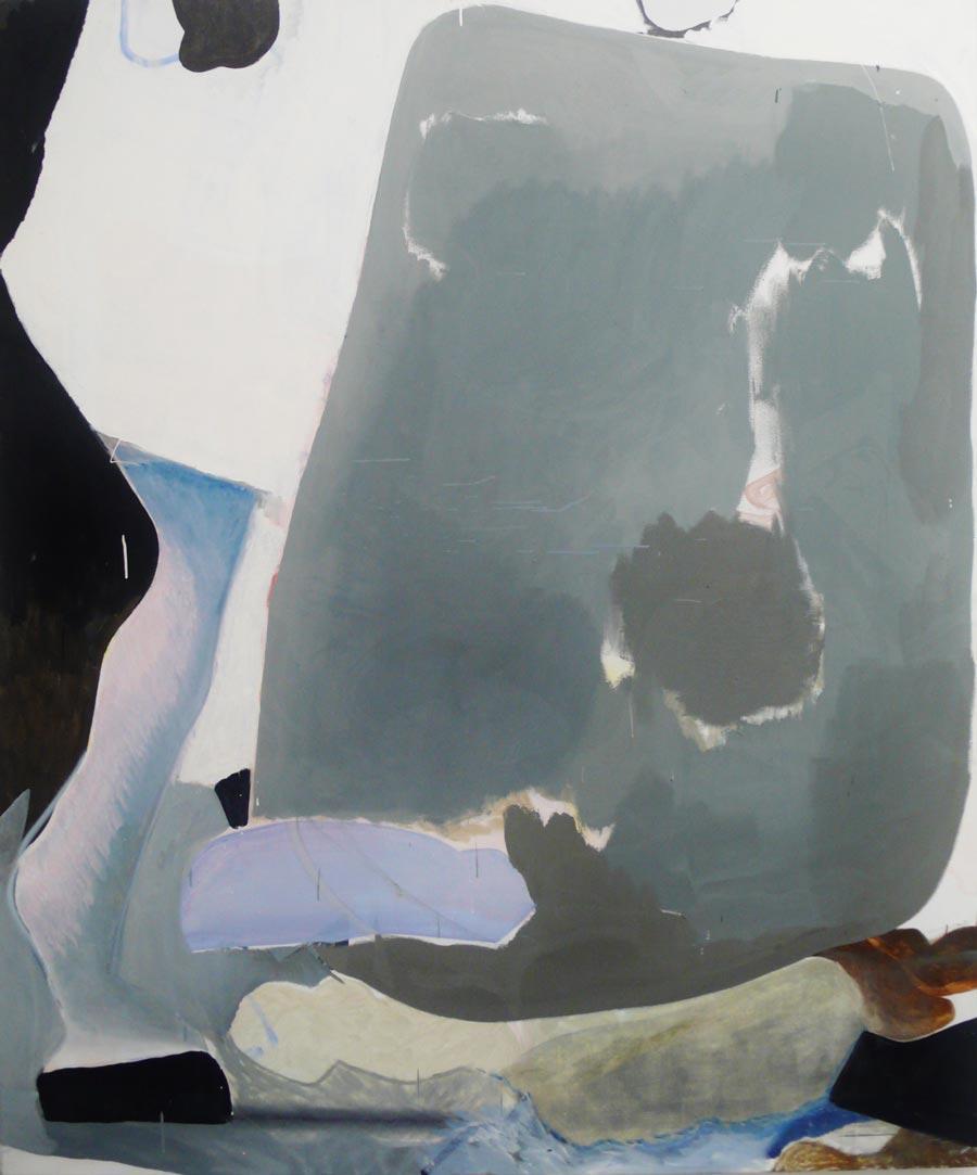 """Katherina Olschbaur, """"Beine (nach P.)"""", 180 x 150 cm, Öl und Lack auf Leinwand, 2011"""