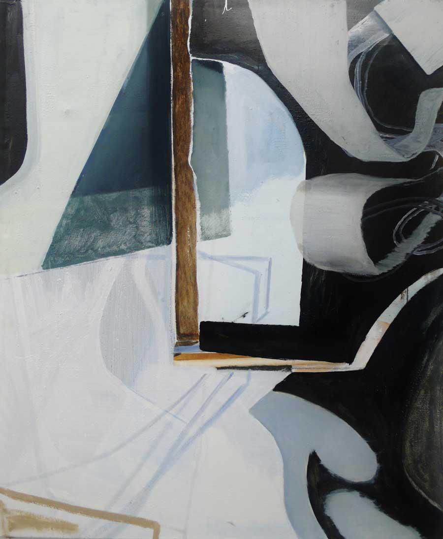 """Katherina Olschbaur, """"Schlaufe stört das Bild"""", 120 x 100 cm, Öl und Lack auf Leinwand, 2011–2013"""