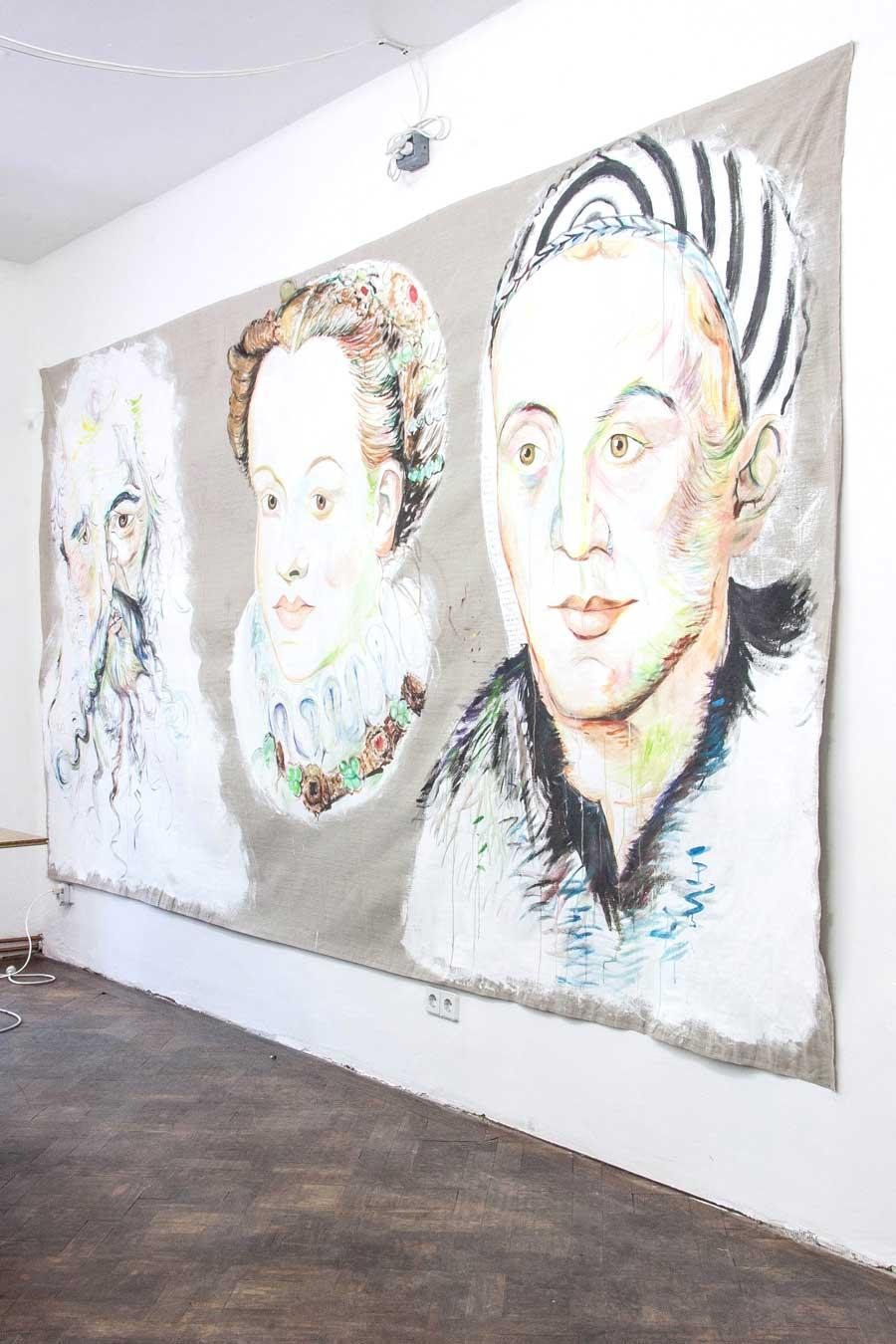 "Elke Silvia Krystufek, ""Language"", 2004, 200 x 400 cm, Acryl auf Leinwand"