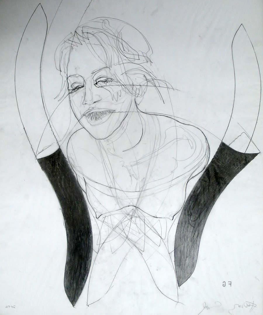 Franz Graf, WOMAN 7, 60 x 50 cm, Bleistift auf Transparentpapier, 2012, signiert