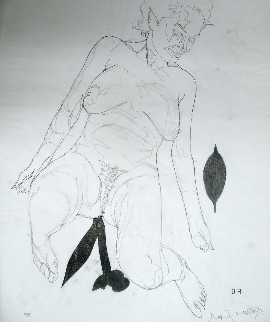 Franz Graf, WOMAN 8, 60 x 50 cm, Bleistift auf Transparentpapier, 2012, signiert
