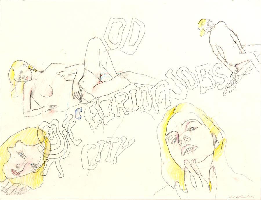 """CITY"", 1998, 42 x 55 cm, Buntstift auf Papier"
