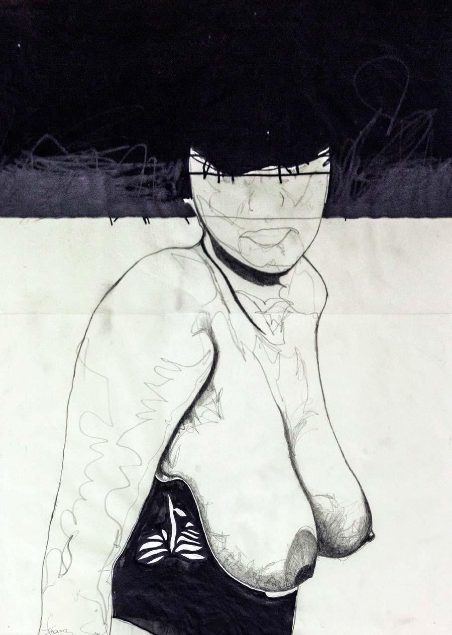 Franz Graf, WOMAN 13, 56 x 42 cm, Bleistift und Ink/permanent Marker auf Transparentpapier, 2012, signiert