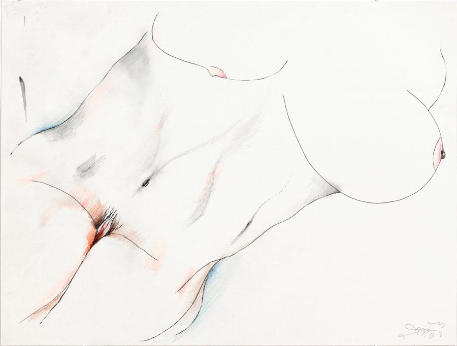 """HALBAKT"", 1990, 42 x 55 cm, Buntstift auf Papier"