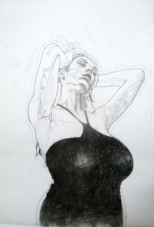 Franz Graf, WOMAN 14, 98 x 70 cm ca., Bleistift auf Transparentpapier, 2013, signiert