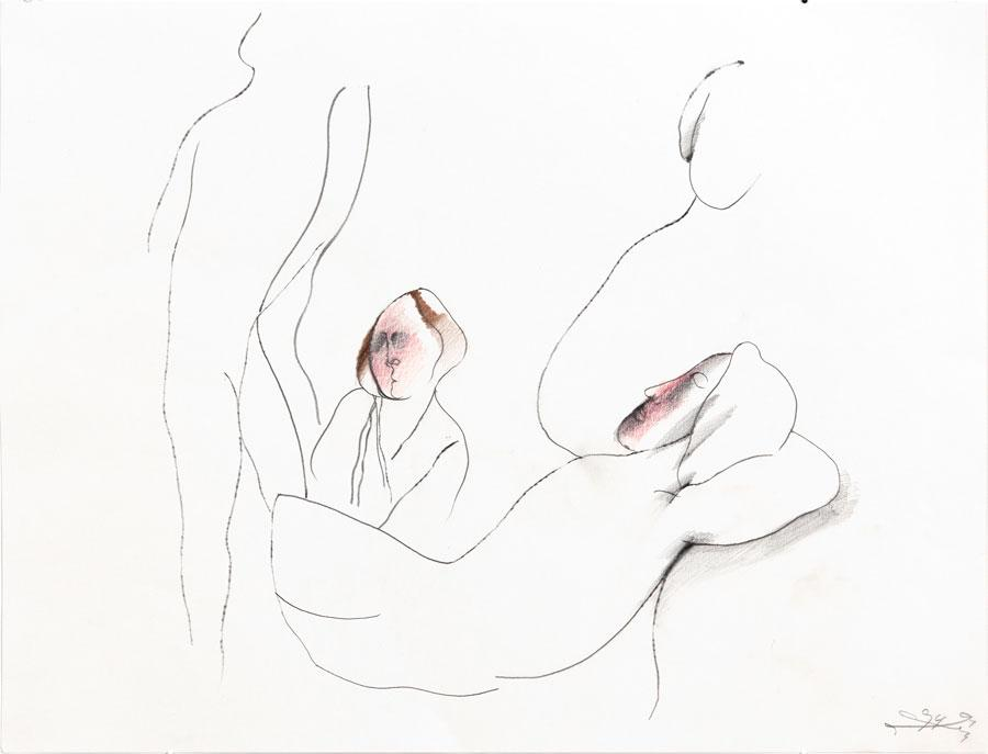 """""""DIE ÜBERLEGUNG"""", 1994, 42 x 55 cm, Buntstift auf Papier"""