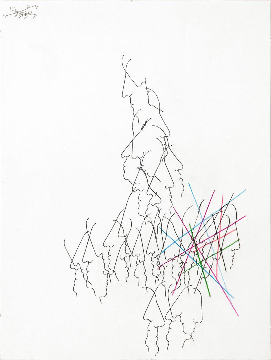 """""""KOPFREIHE"""", 1993, 55 x 42 cm, Buntstift, auf Papier"""