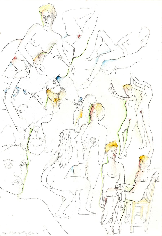 """""""LIEBESSPIELE 1"""", 1985, 44 x 30 cm, Buntstift auf Papier"""