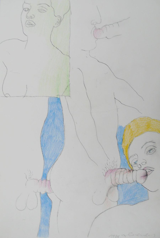 """""""LIEBESSPIELE 2"""", 1985, 44 x 30 cm, Buntstift auf Papier"""