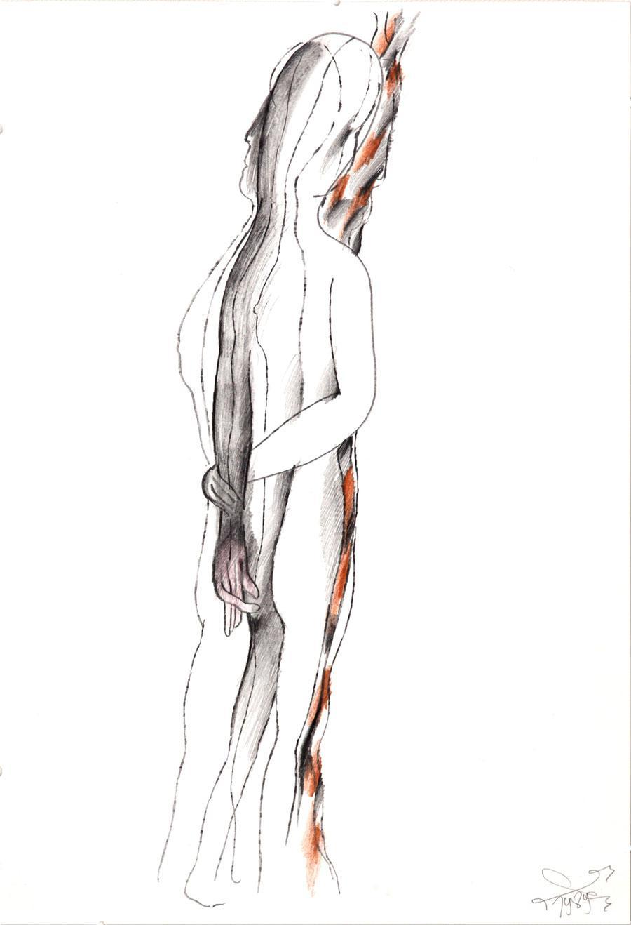 """""""AKT DENK"""", 1989, 44 x 30 cm, Buntstift auf Papier"""